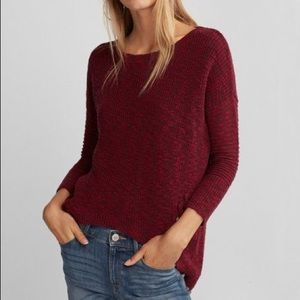Red side lace up marled sweater